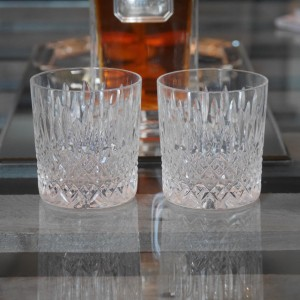 Pair of cut crystal whiskey glasses