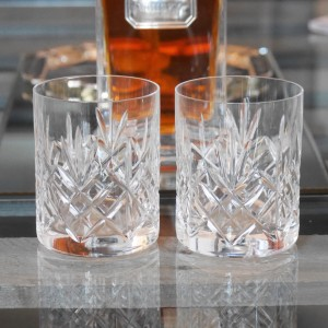 Pair of cut crystal whiskey glasses.
