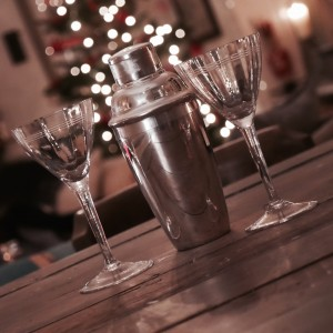 1930's Silver Plated Cocktail Shaker & 2 Coupe Glasses